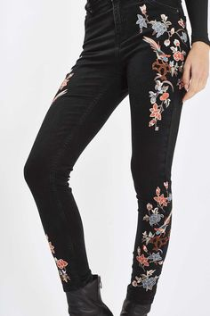 MOTO Limited Edition Floral Embroidered Jamie Jeans | Topshop