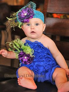 Blue & Green Peacock Lace Marabou Romper with Headband