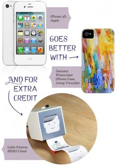I want both! iPhone January Watercolor case and the Little Printer ... uh ... oh my!
