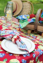 Fruit Medley Tablecloth in red by April Cornell