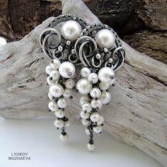 Белая смородина - серьги длинные,серьги,серьги с жемчугом,жемчуг,белый