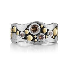 Wavy-Edged River Pebbles Ring with Cognac Diamonds by Rona Fisher: Gold, Silver, and Stone Ring available at www.artfulhome.com