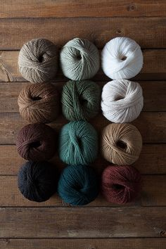 Woodland Cabin Yarn Sampler - White, Bark, Autumn Heather, Verdant Heather, Bittersweet Heather, Camel Heather, Suede, Oyster Heather, Mongoose, Shire Heather, Douglas Fir, Sea Grass