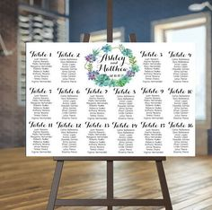 Wedding Seating Chart Poster \