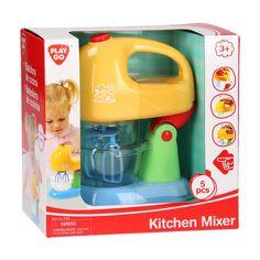 Maak heerlijke taarten en slagroom met deze mixer van Playgo. Plaats de mixer in de houder, druk op de knop en de gardes begint te draaien. Dat wordt smullen! De mixer en beslagkom zijn gemaakt van stevig kunststof in vrolijke kleuren. Inclusief batterijen. Afmeting: verpakking 20 x 20 x 11 cm - Playgo Mixer