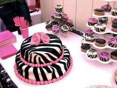 Zebra cake and cupcakes.