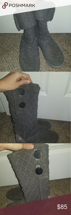 Size 6 UGG Austrailia Sweater Boots Girls Size 6 UGG Austrailia Sweater Boots, fits me and I'm a 8.5 in ladies. Boots do show signs of wear such as salt stains to the backside, and light marks to toe area. I replaced one of the original buttons but doesnt effect the boot. Otherwise excellent condition. Cute & Warm! UGG Shoes Rain & Snow Boots