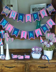 Items Similar To Elephant Birthday Decoration Package Little Peanut Navy Banner First Party On Etsy