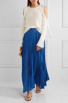 Alice Olivia - Katz Metallic Silk-blend Jacquard Maxi Skirt - Blue - US0