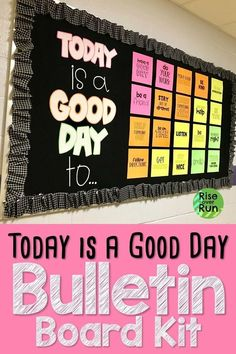 This bulletin board design looks awesome It was so easy to print cut and hang up to make a bright motivational display in the school hallway Letters spell out Today is a. Counselor Bulletin Boards, Hallway Bulletin Boards, Elementary Bulletin Boards, Bulletin Board Design, Back To School Bulletin Boards, Middle School Classroom, Kindness Bulletin Board, Health Bulletin Boards, Back 2 School