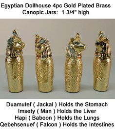 Laura DuBois Miniatures And Collectibles: Eygptian 4pc Canopic Jars