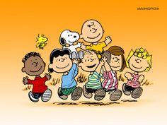 The Peanuts gang - top row: Woodstock, Snoopy, Charlie Brown; bottom row: Franklin, Lucy van Pelt, Linus van Pelt, Peppermint Patty, Sally Brown