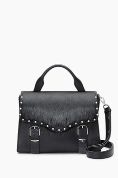 Biker Doctor Bag - When you have to look put together, but just can't shake that rocker attitude. Silver hardware and studs add biker edge to this buttery leather bag. Carry by the top handle for ladylike vibes; sling it by the adjustable and removable strap to keep it casual.    p>Style#:HU17EDBD02