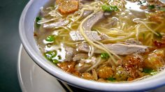 Batchoy is a noodle soup made with pork organs, crushed pork cracklings, shrimp, vegetables, chicken stock, chicken breast, beef loin and ro...