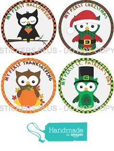 Baby Boy First Holiday Stickers Baby Milestone Stickers Owls First Christmas First Birthday Halloween Easter Thanksgiving St. Patrick's Day Valentine's Day Easter from Angies StickersPlus