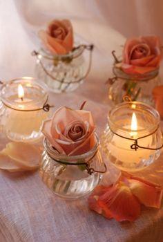 glass jar tealight holder :: iena-style Fundraising Ideas, Bridal Shower Decorations, Tea Light Holder, Glass Jars, Tea Lights, Wedding Stuff, Flora, Wedding Planning, Candle Holders