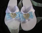 Something Blue Bridal Flip Flops. White Platform Flip Flops with Blue and White Ribbon and Rhinestone Heart. Perfect for Destination Weddings!