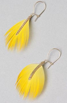 good Serefina The Mini Chain Feather Earring in Yellow and Coral,Jewelry for Women