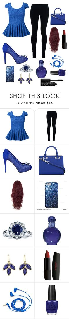 """""""painted blue"""" by winternightfrostbite ❤ liked on Polyvore featuring NIKE, GUESS, MICHAEL Michael Kors, Kobelli, Britney Spears, FOSSIL, OPI and NARS Cosmetics"""
