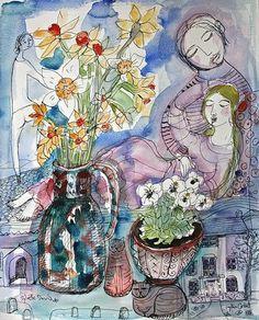 Lydia Corbett Albert House Still Life, 2010 Artist At Work, Picasso, Still Life, Illustrations, Watercolor, Flowers, Landscapes, Anime, David