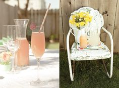 Grapefruit Spritzers (2/3 grapefruit juice + 1/3 sparkling water with lime)