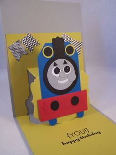 Pop Up Birthday Card, Thomas Train Punch Art, Stampin' Up!