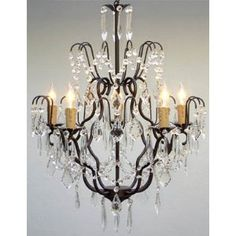 "Wrought Iron Crystal Chandelier Chandeliers Lighting Chandelier H27"" x W21"""