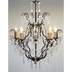"Wrought Iron Crystal Chandelier Chandeliers Lighting Chandelier H27"" x W21"""