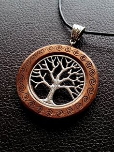 """001 Tree of Life in silver on Walnut 50mm (2"""") tall"""