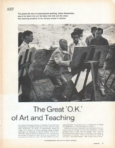 "Description: 1961 OSKAR KOKOSCHKA vintage magazine article ""The Great 'O.K.' of Art and Teaching"" -- The grand old man of expressionist painting, Oskar Kokoschka, pours his talent into art, his ideas into talk and his vision into teaching students at his famous school in Austria. ... Photographed for LIFE by Erich Lessing ... Courmayeur in Italy ... French city of Lyons ... Visions of Majesty by King of the Castle ... Public Terror's Ups and Downs -- Size: The dimensions of each of the five ..."