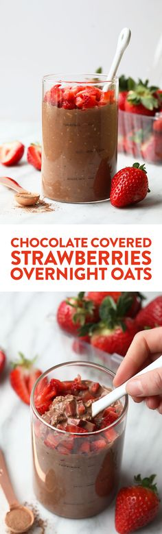 Chocolate-covered strawberries for breakfast? YES PLEASE! Make this chocolate covered strawberry overnight oats recipe and eat dessert for breakfast. Well, not really, but it sure does taste like it! These overnight oats are packed with fiber, 100% whole grain, and a healthy breakfast option all week long.