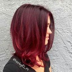 rojo color de pelo ombre