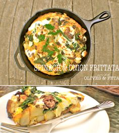 frittata ~ 1 large potato, 1 onion, garlic and spinach sauteed in a ...