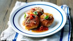 Crabcakes with a tomato, crab and basil dressing |      This recipe takes some time but the fantastic flavour is well worth waiting for.