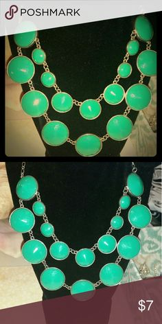 Facited glass Statement necklace teal ant. Silver Brand New! Nwot Never worn! Perfect condition =) Beautiful colors!  Purchased @ JCPENNYS jewelry counter.  I absolutely love it, but always wore something my honey bought me, as not to make him feel bad. Lol! #greatdeal #UwilllookMarv #Classylook #Sassy #Sexy JCPENNYS  Jewelry Necklaces