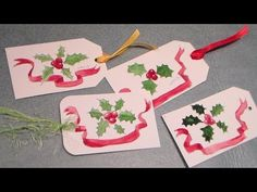 The Frugal Crafter Watercolor Tutorials on YouTube - Holly Gift Tag Using Pen, Ink & Watercolor