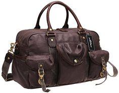 Iblue Waterproof Canvas Carry On Weekend Shoulder Handbag Leather Travel Gym Tote Duffel Bag