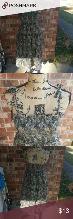 M cascading peacock dress Size medium great condition. Cascading peacock dress with adjustable tie shoulder straps Dresses Midi