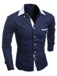 Long Sleeve Grid Button Up Shirt For Men in Black | Sammydress.com Mobile