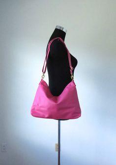 b1f1c56073 Pink leather handbag   Pink leather hobo bag  pink by Adeleshop