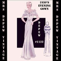 Vintage Sewing Pattern 1930's Evening or Wedding Gown in Any Size Depew 1122- PLUS Size Included -INSTANT DOWNLOAD-