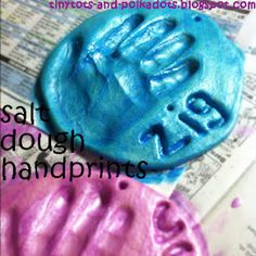Tiny Tots and Polka Dots: Weekend Wrap-Up - baking and crafts including salt dough hand prints Holiday Crafts, Fun Crafts, Crafts For Kids, Arts And Crafts, Rainy Day Activities, Salt Dough, Preschool Art, Handmade Home Decor, Projects For Kids