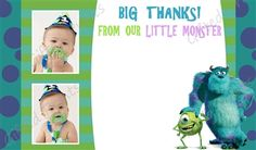 Monsters Inc. Thank You Card Monsters Inc, Little Monsters, Monster Pictures, Birthday Thank You Cards, Printable Thank You Cards, Themes Free, Customer Service, Digital, Prints