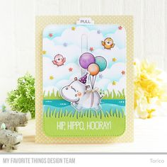 Happy Hippos Stamp Set and Die-namics, Interactive Labels Stamp Set, Balloon Shaker Window & Frame Die-namics, Blueprints 31 Die-namics, Grassy Edges Die-namics, Interactive Birthday Cake Die-namics, Surf & Turf Die-namics, Mini Cloud Edges Stencil - Torico #mftstamps