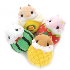 Somehow, the adorable hamsters from Amuse's Coroham Coron series have found themselves nestled in so Kawaii Plush, Cute Plush, Kawaii Felt, Coron, Felt Monster, Softie Pattern, Kawaii Room, Hamster, Polymer Clay Animals