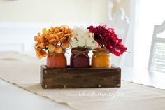 Fall Rustic Planter Box with 3 Painted Mason Jars. Fall Decor. Rustic Home Decor. Thanksgiving. Pumpkin. Burnt Orange. Table Centerpiece. (45.00 USD) by KatesLittleShop