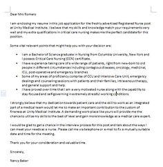 Application Letter Of A Nurse Sample Job Application Letter Template For  Nurse Free Download Cover Letter