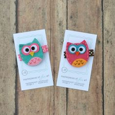 owl clippies clippies | Set of 2 Mini Felt Owl Hair Clips Cute by MasterpiecesOfFunArt, $7.00