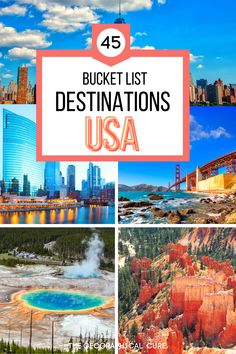 Planning a vacation in the United States but not sure where to go? To give you some USA destination inspiration, this USA travel guide gives you 45 bucket list destinations in the US. It takes you to the best cities, national parks, quaint small towns, and must visit attractions in the US. USA Places To Visit | Best Towns in the US | Best Cities in the US | 50 States Bucket List | USA Vacation Spots | US Road Trips | US Itineraries | Best Things To Do and See in the US | United States Travel Best Places To Vacation, Vacation Spots, Places To See, Vacation Savings, Vacations, Us Destinations, Bucket List Destinations, Travel Guides, Travel Hacks