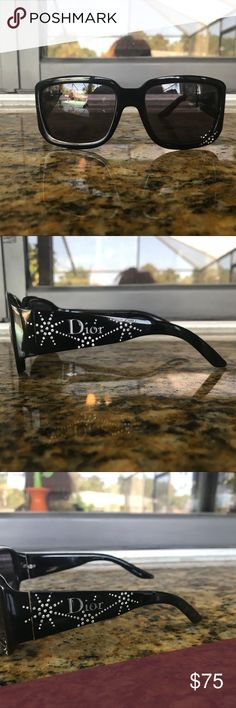 Dior sunglasses Dior sunglasses. They have only been worn a few time and have a pretty decorative design!! One of the arms was loose and has been tightened.  Due to the tightening the arm does not lay flat when put on a flat surface (as shown in picture 3). This does not affect how they look when worn, just mentioning for the sake of full disclosure. When worn they are perfectly symmetrical, no crookedness whatsoever! Dior Accessories Sunglasses